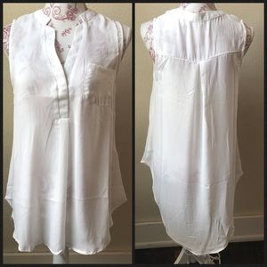 Poetry Sheer Sleeveless Hi Lo Split Neck Blouse L
